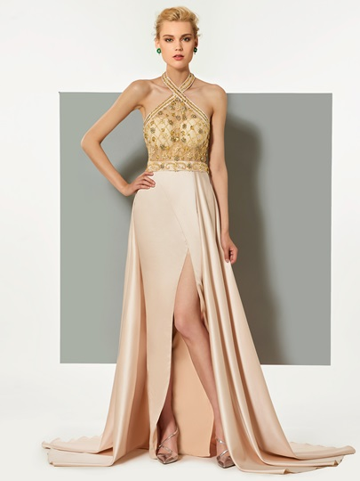 A-Line Empire Halter Backless Evening Dress