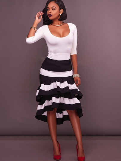 Asymmetrical Striped Printing Women' s Skirt Suit