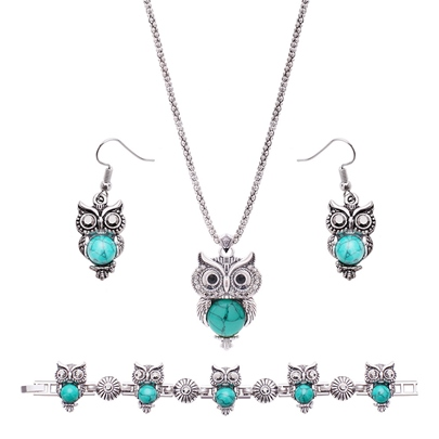 Alloy Turquoise Owl Shaped Popcorn Chain Jewelry Sets