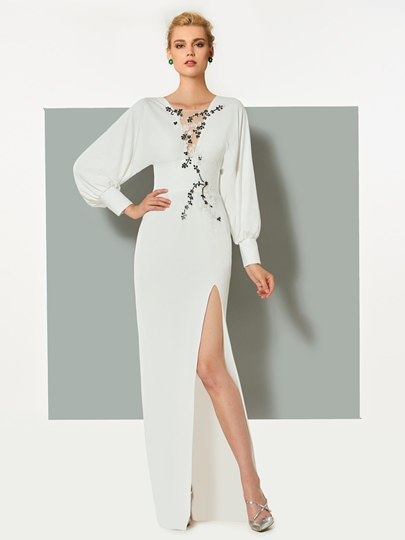 Long Sleeves Appliques Beading Split-Front V-Neck Evening Dress