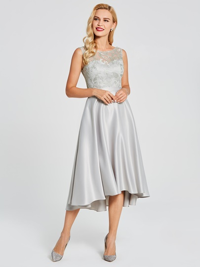 Lace Top High Low Bridesmaid Dress
