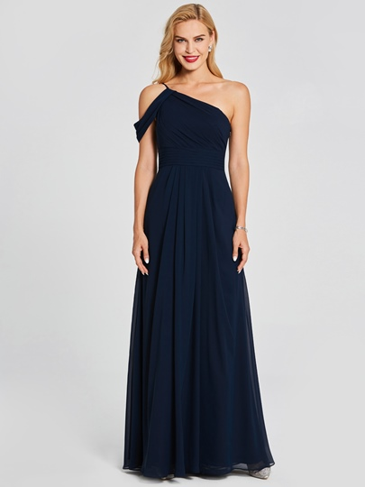 One Shoulder Ruched A-Line Bridesmaid Dress