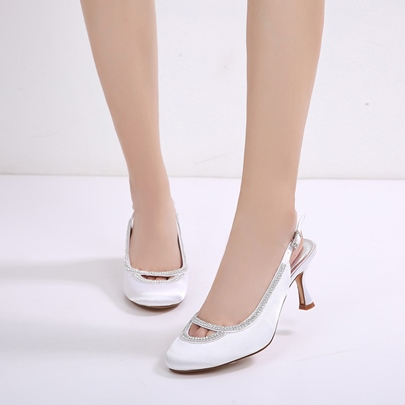 Horse-Shoe Heel Hollow Rhinestone Slingback Strap Wedding Shoes