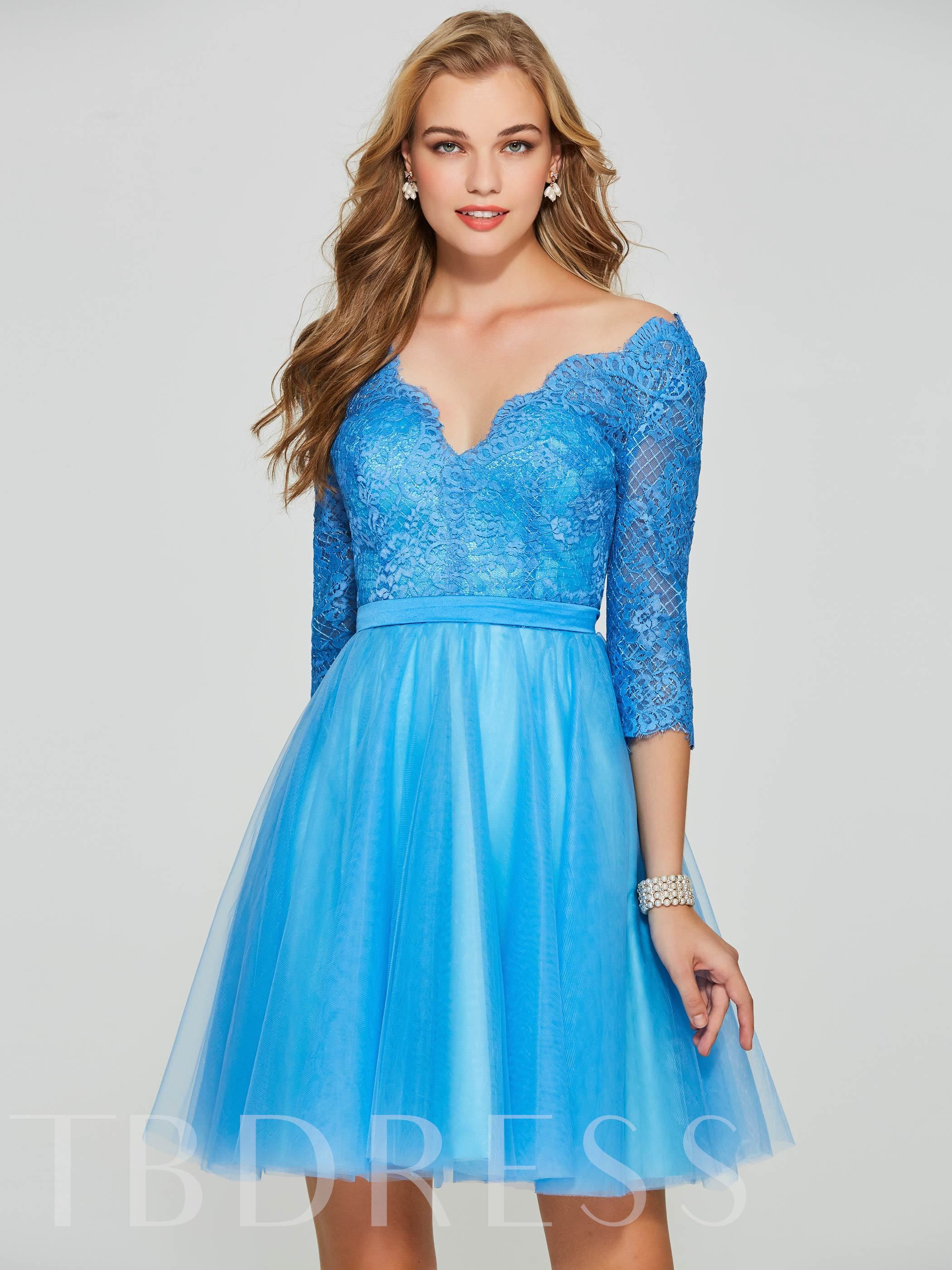 Image of A-Line 3/4 Length Sleeves Backless Lace V-Neck Sashes Homecoming Dress