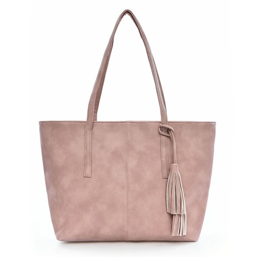 Simple Solid Color Tassel Zipper Shoulder Bag