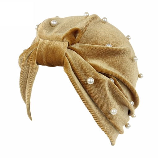 Pleuche Pearl Inlaid European Style Turban Hats