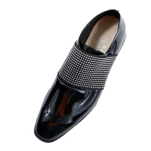 Black Loafer Slip-On Square Toe Rhinestone Men's Dress Shoes