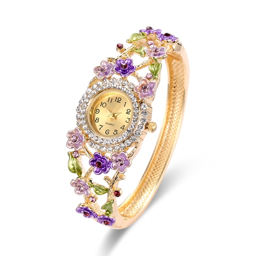 Diamante Floral Hollow Out Ethnic Alloy Opening Bracelet Watches