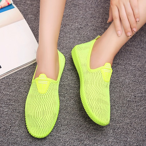 Cotton Flat With Slip-On Mesh Women's Sneakers