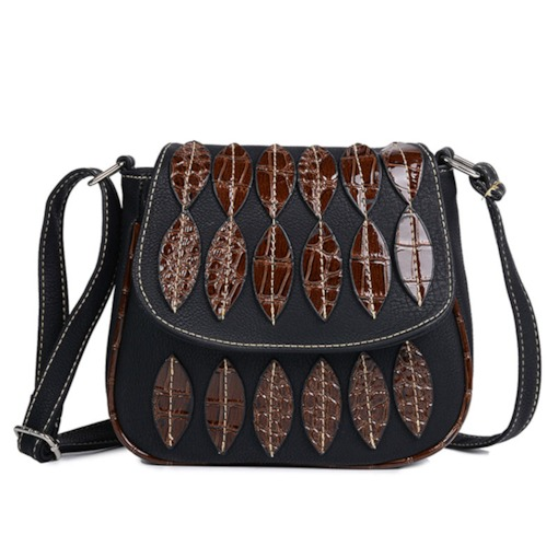 Ethnic Style Leaf Design Cross Body Bag