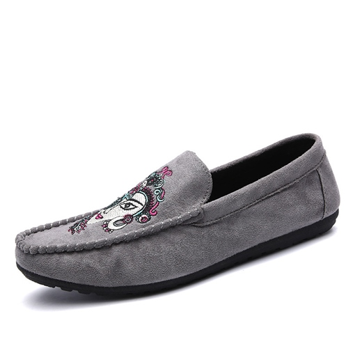 Embroidery Slip-On Suede Men's Boat Shoes
