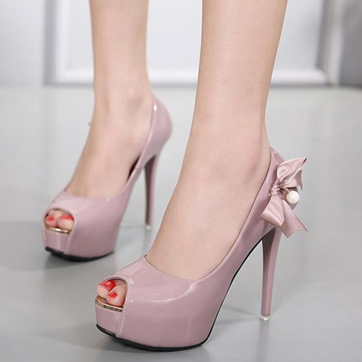 Platform Beads Bow Slip-On Women's Shoes For Wedding