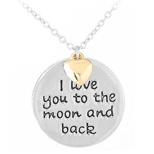 Heart Round Link Chain Lettering Pendant Necklace