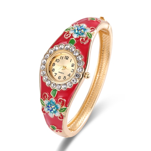 Diamante Ethnic Floral Pattern Cloisonne Bracelet Watches