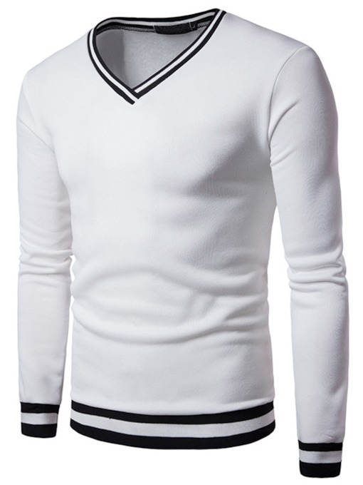 Rib V-Neck Leisure Slim Men's Sweatshirt