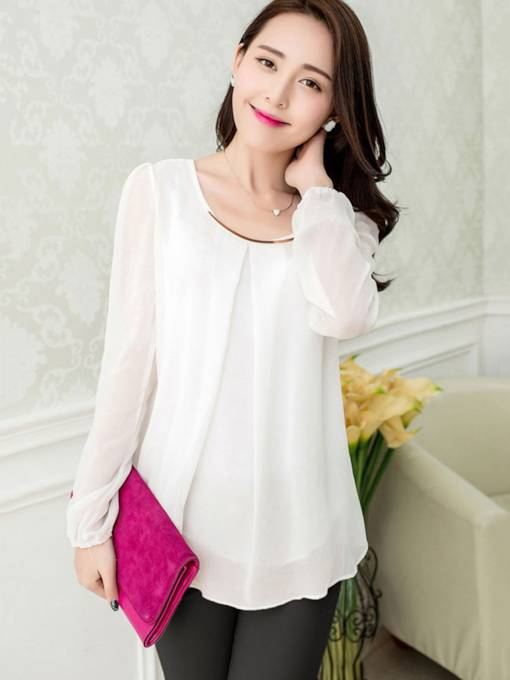 Asymmetric Chiffon See-Through Women's Blouse