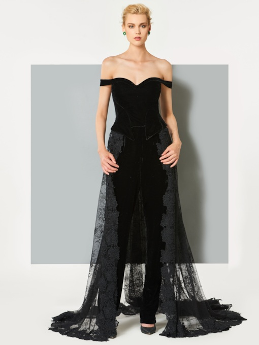 Off the Shoulder Velvet Evening Jumpsuits with Lace Train
