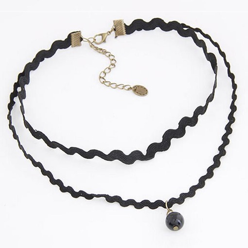 Wave Pearl Black Rope Alloy Torques Choker Necklace