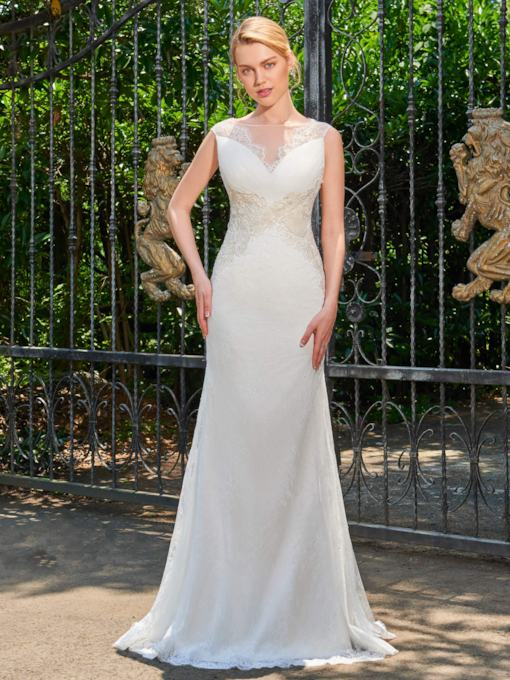 Bateau Neck Lace Court Train Mermaid Wedding Dress