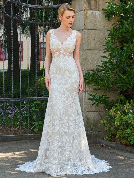 V-Neck Straps Lace Court Train Wedding Dress