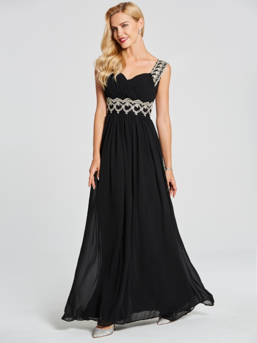 Straps Appliques A Line Evening Dress