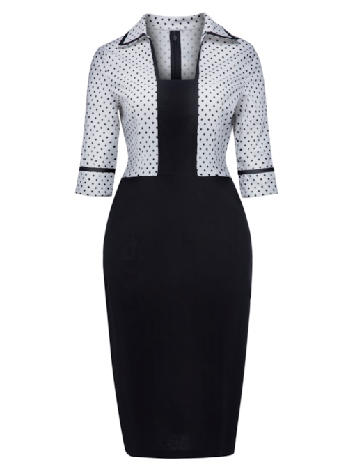 Half Sleeve Polka Dots Lapel Women's Pencil Dress