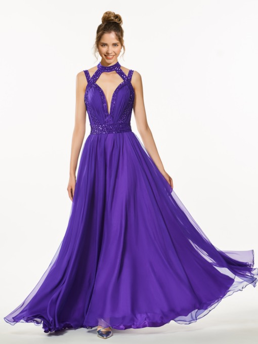 A-Line High Neck Backless Beading Floor-Length Prom Dress