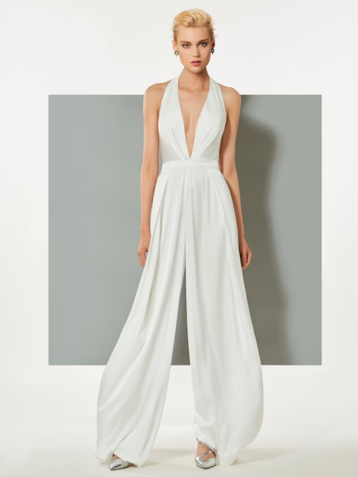 Sheath Halter Backless Evening Jumpsuits