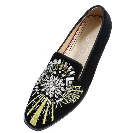 Embroidery Rhinestone Square Toe Suede Men's Dress Shoes