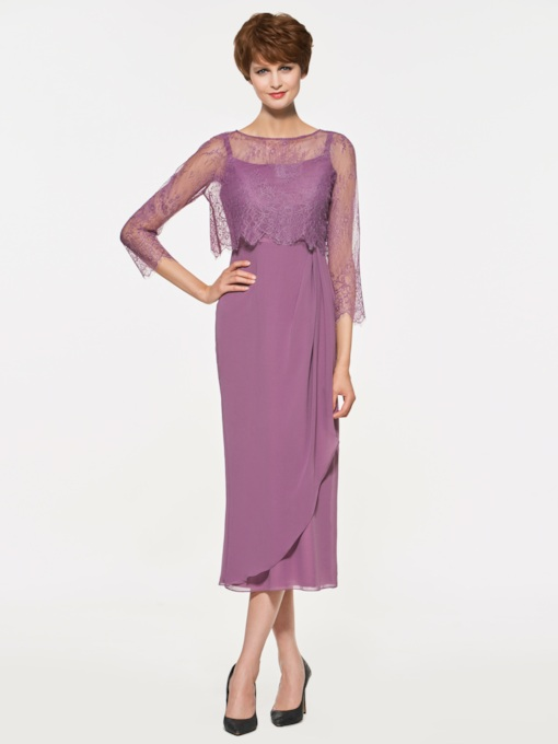 Sheath Lace Tea-Length Mother of the Bride Dress