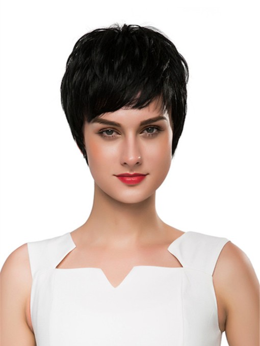 Short Straight Boy Cut Human Hair Capless Wig 10 Inches