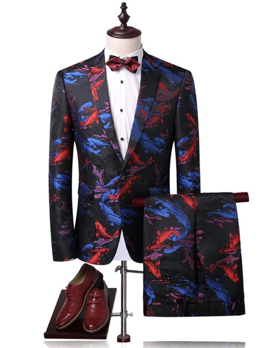 Notched Collar Large Bright Printed Slim Banquet Men's Dress Suit