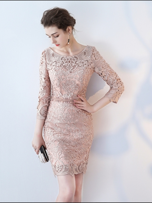 Sheath Long Sleeves Lace Scoop 3/4 Length Sleeves Cocktail Dress