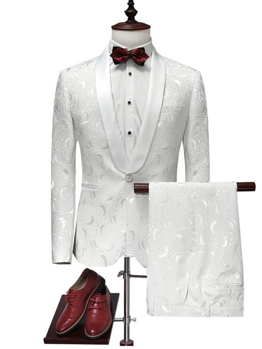 Notched Collar Printed One Button Slim White Men's Dress Suit