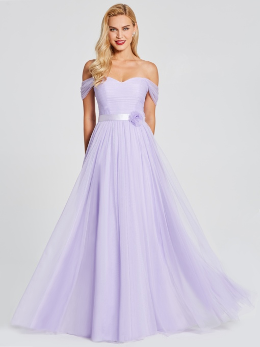 Off the Shoulder Ruched Flower Long Bridesmaid Dress