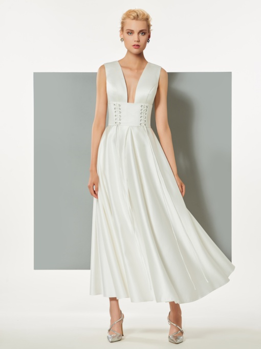 A-Line V-Neck Backless Sleeveless Ankle-Length Evening Dress