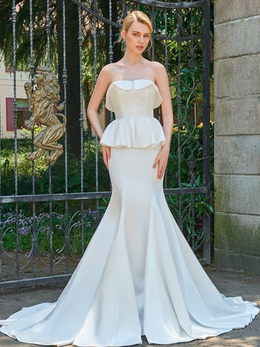 Strapless Zipper-Up Court Train Mermaid Wedding Dress