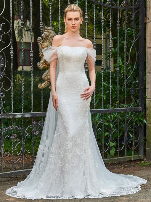 Lace Off-The-Shoulder Court Train Wedding Dress