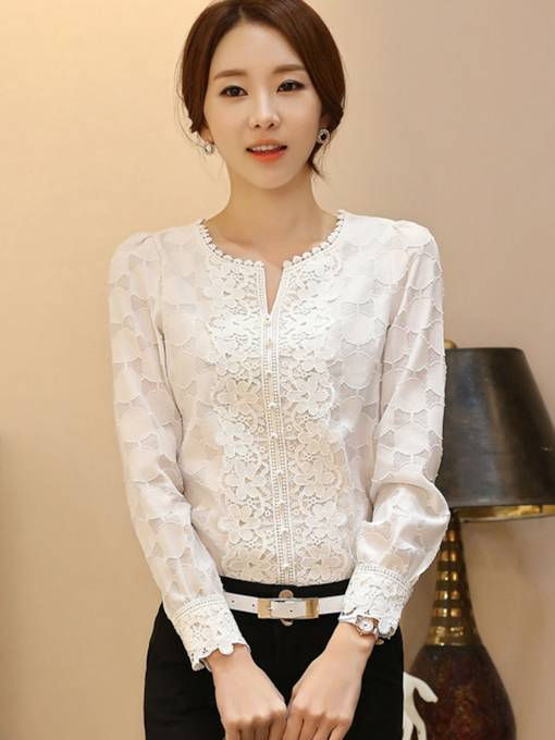 Flower Print Lace Women's Blouse