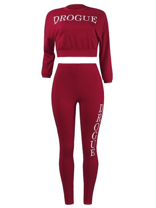 Plain Long Sleeve Top and Pants Women's Two Piece Set