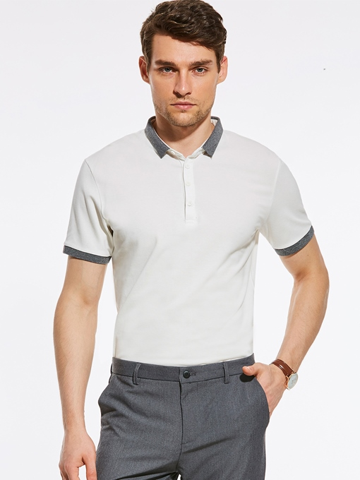 Color Block Buttons Lapel Men's Causal T-Shirt