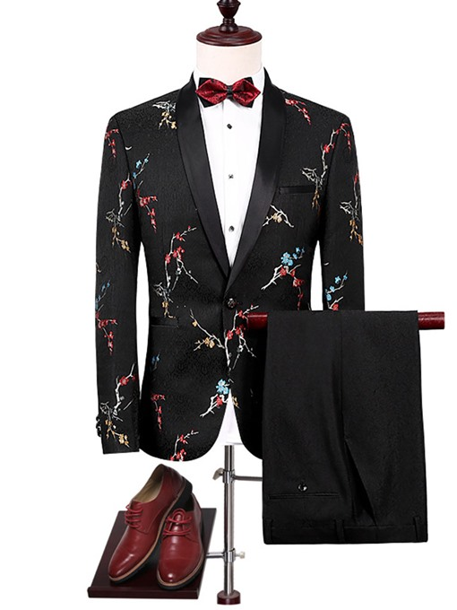 Notched Collar One Button Classic Embroidery Slim Men's Dress Suit