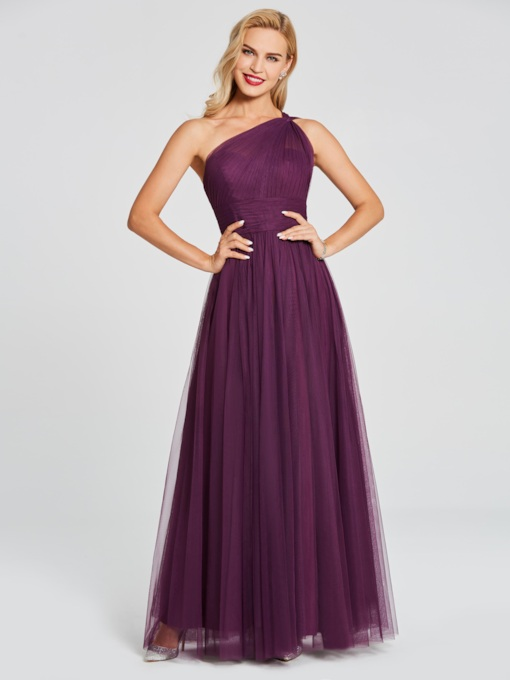 One Shoulder Pleats Long Bridesmaid Dress