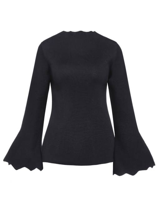 Flare Sleeve Pullover Plain Women's Sweater