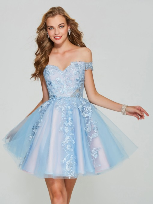 A-Line Short Sleeves Appliques Lace Mini Homecoming Dress