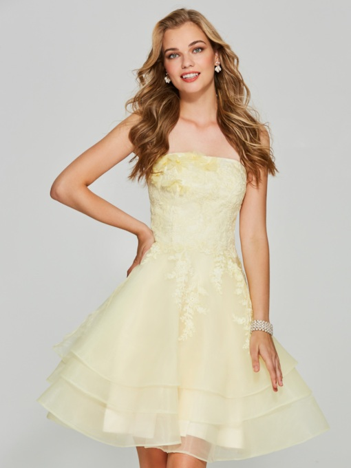 A-Line Appliques Strapless Sleeveless Mini Homecoming Dress
