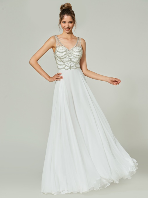 A-Line Beading Button V-Neck Floor-Length Prom Dress