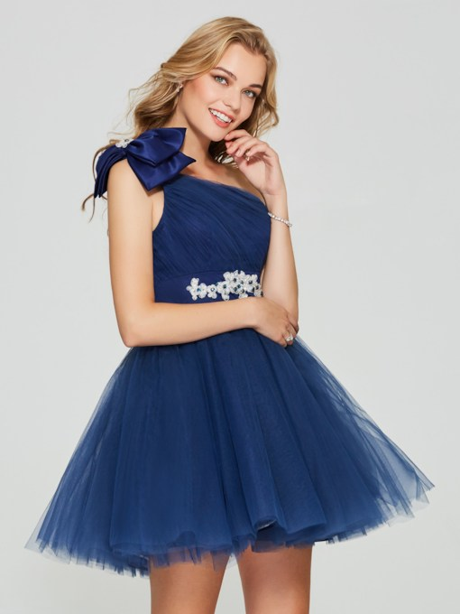 One-Shoulder Beading Bowknot Pleats Homecoming Dress