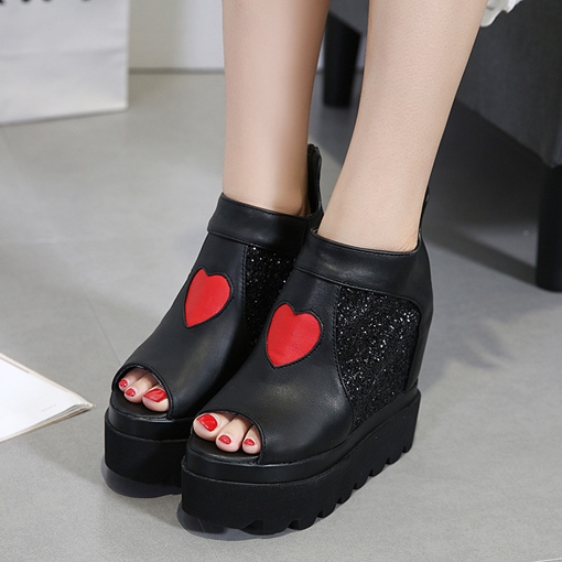 Heart Shaped Patchwork Hidden Elevator Heel Sequins Platform Women's Shoes