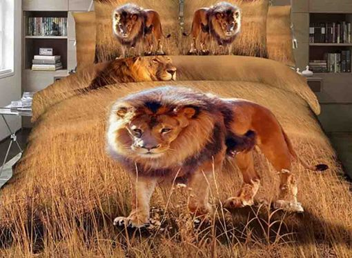 Lion on Grassland Printed Cotton 4-Piece 3D Bedding Sets/Duvet Covers